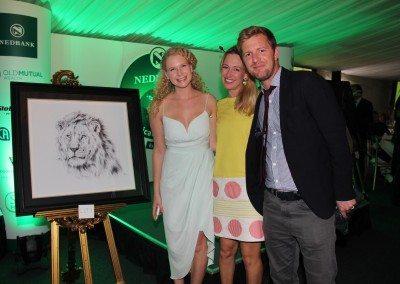 Artisit Emma Jones with Successful bidders Mr & Mrs Nash
